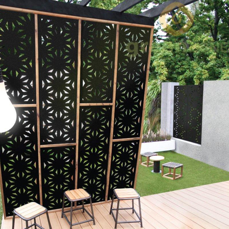 Good Color Fastness Wood Plastic Composite Outdoor Decorative Carving Fence Panel  600*1200*15mm