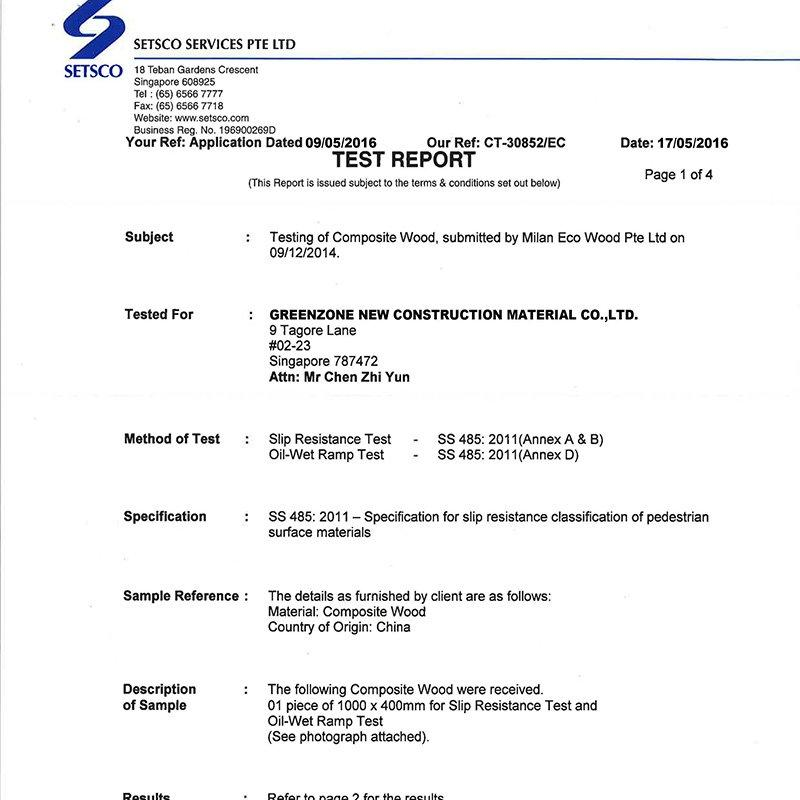Slip Resistance Test Report